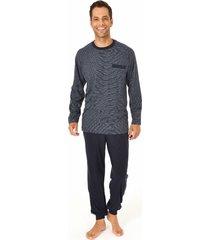 heren pyjama normann 10190404-60-donker blauw