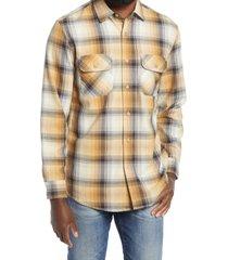 men's pendleton beach shack plaid button-up shirt, size large - brown