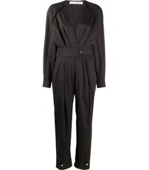 iro v-neck belted jumpsuit - black