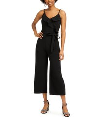 almost famous ruffled faux-wrap jumpsuit