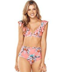 bikini rose vuelito tiro alto coral lisantino