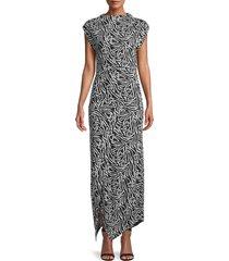 rebecca taylor women's zebra lily sleeveless dress - black combo - size m