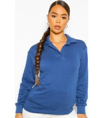 oversized rugby top, marineblauw