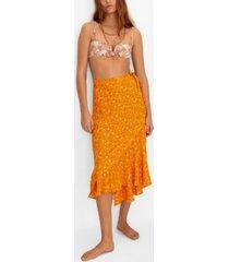 mango wrap print sarong skirt