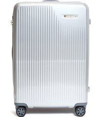 sympatico medium expandable spinner limited edition suitcase - silver