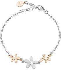 bracciale fiori in acciaio rodiato e cristalli per donna
