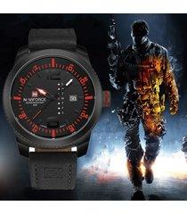 lujo cuarzo naviforce relojes hombre deportivos-negro rojo