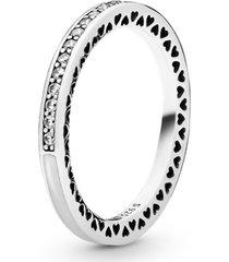 anel corações radiantes pandora