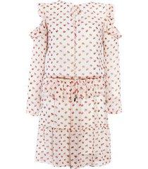 sukienka z szyfonu w kwiatki z falbankami