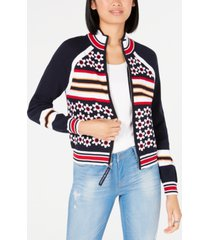 tommy hilfiger cotton printed zip-front sweater, created for macy's