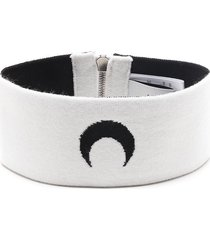 marine serre crescent-moon motif neck warmer - white