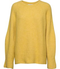emily round neck stickad tröja gul dagmar