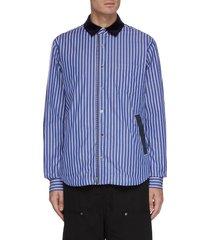 contrast collar zip reversible shirt