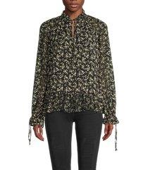 cistar new york women's floral tie-neck blouse - black - size m
