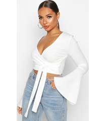 cropped rib flare sleeve top, ivory
