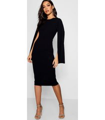 cape sleeve bodycon midi dress, black