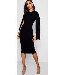 cape sleeve bodycon midi dress, black