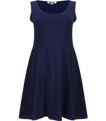 vestido hombro ancho unicolor color azul, talla m