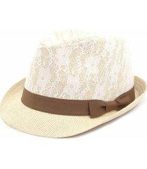 chapéu bijoulux estilo panamá com renda e laço marrom - kanui
