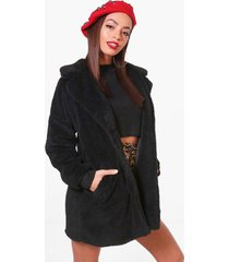 faux fur teddy jas, zwart