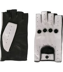 manokhi two-tone cut-out detail gloves - black