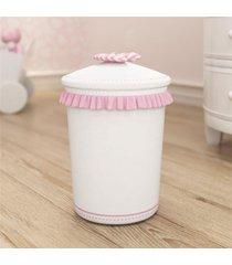 lixeira bebe menina branco/rosa nina e o balã£o grã£o de gente rosa - rosa - menina - dafiti