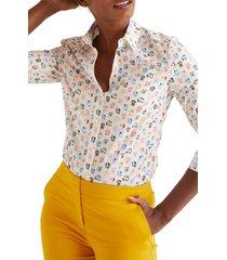 women's boden modern classic print shirt, size 10 - ivory