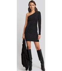 na-kd party padded glittery one shoulder dress - black