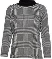 britta glencheck blouse lange mouwen grijs jumperfabriken