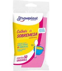 colher strawplast para sobremesa com 50 unidades rosa