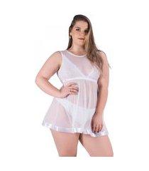 camisola recriar lingerie cecillia em tule branca branco