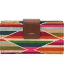 fossil logan leather rfid tab clutch wallet