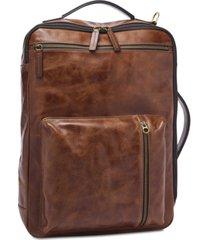 fossil men's leather buckner backpack