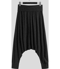 hombres estilo étnico harem informal súper elástico suelto pantalones