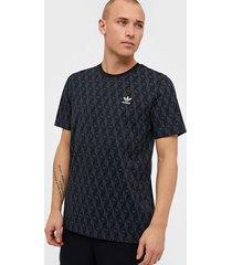 adidas originals mono aop tee t-shirts & linnen svart
