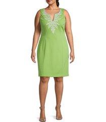 pappagallo women's plus amaya embroidered shift dress - key lime - size 14
