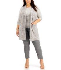 alfani plus size sleeveless notched-collar vest, created for macy's