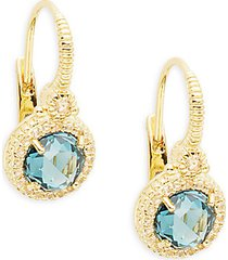 london blue spinel & white topaz leverback drop earrings