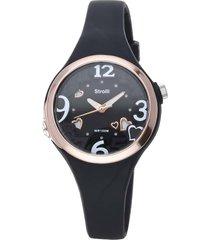 las vegas - orologio cinturino nero in policarbonato, ghiera e dettagli oro per donna