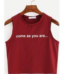 magliette senza maniche scollo tee stampate a lettera