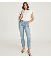 reiss elle - high rise straight leg jeans in pale blue, womens, size 24l
