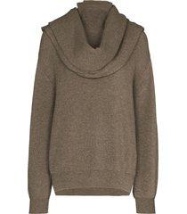 frankie shop turtleneck scarf detail knit jumper - grey
