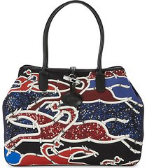 top handle floral & belt print tote bag