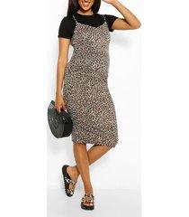 zwangerschap 2-in-1 luipaardprint bodycon jurk, zwart