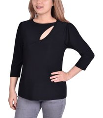 ny collection petite embellished cutout 3/4-sleeve top