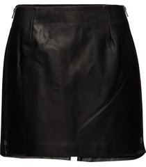 brishen pu side zip skirt kort kjol svart french connection