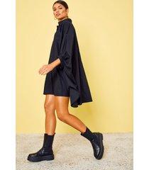 oversized blouse jurk met vleermuismouwen, zwart
