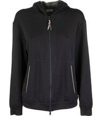 cotton and silk french terry sweatshirt with monili navy blue brunello cucinelli