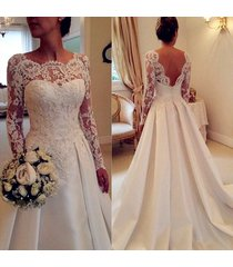 long sleeves backless lace wedding dresses,wedding gowns,bridal gowns