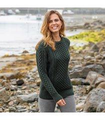 women's traditional merino wool aran sweater army green small
